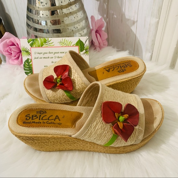 Sbicca Shoes - Sbicca Fabric Wedge Slide Sandals Size 8